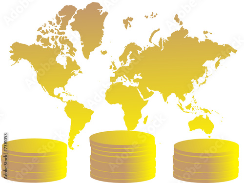 Gold coins and map of the world