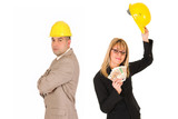 businesswoman with earnings and businessman poster