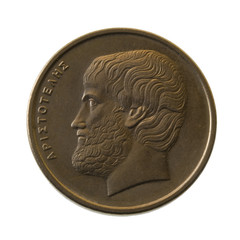 Aristotle, ancient Greek philosopher, portrait  on a  coin