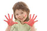 cute girl with painted hands and face