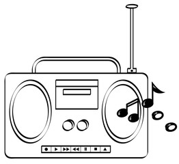 music stereo or radio boombox with music
