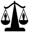 scales of justice with man and woman - sexual equality