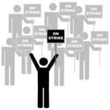 stick figures or men with union leader on picket line