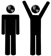 stick figure people or men with world globe heads