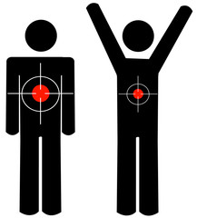 stick figure or man with targets or back