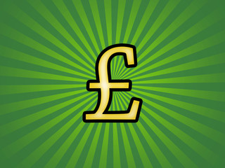 Pound sterling symbol on a retro background