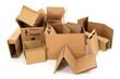 Leinwanddruck Bild - Pile of used cardboard boxes