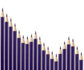 Business graph illustrating decline made up of blue pencils