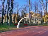 Terrain de basket dans un parc, Venise, Italie poster