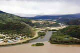 Dawson sity on the merge of Klondike river and Yukon river poster