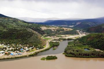 Dawson sity on the merge of Klondike river and Yukon river