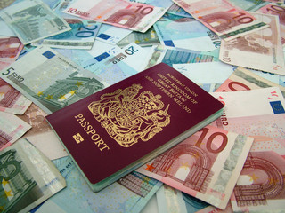 passport with european money