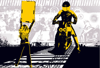 Show motorbike - yellow and black