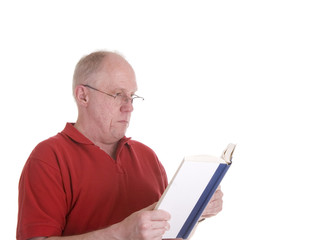 Man in Red Shirt Reading a Book