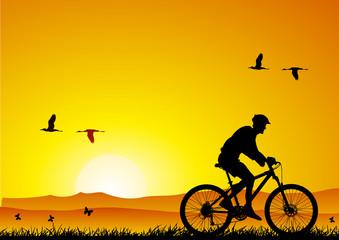 Mountain bike at sunset