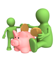 Adult and child together lowering coin in piggy bank