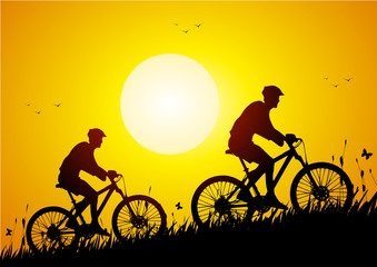 Mountain bike in a meadow at sunset
