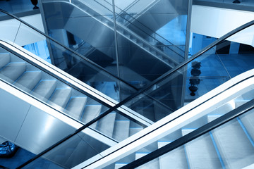 Escalators in business center