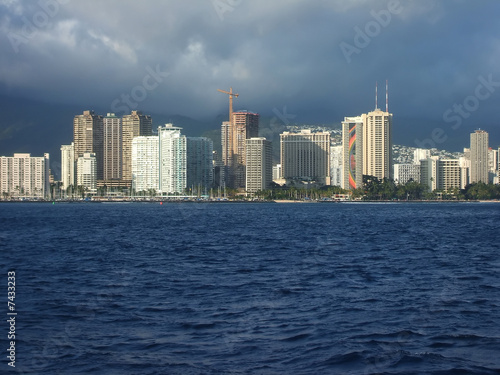 Bright Towers of Honolulu Skyline Viewed From Ocean, Hawaii