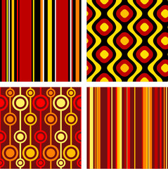 4 versions of retro seamless patterns