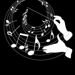 Music theme and conductor hands on a black background.