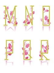 Ornamental letters M, N, O, P, Q, R, pink rose floral pattern