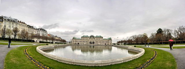 Panorama of Belvedere Palace with pond in Vienna