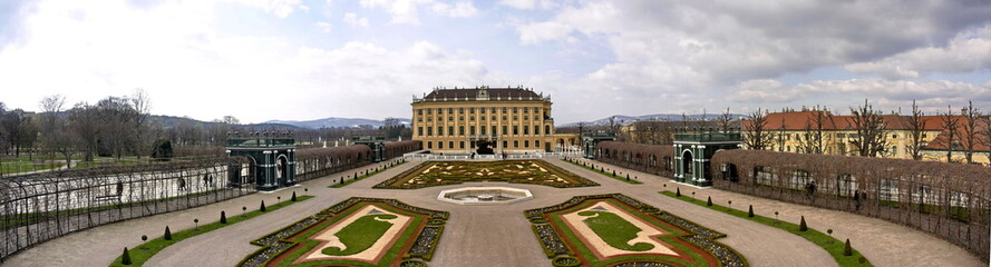 Panorama of Shoenbrunn Palace and Park in Vienna