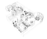 3d sketch of a four-room apartment poster