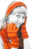 beauty girl with orange mittens poster