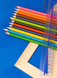 educations tools - pencils, rulers and folders poster