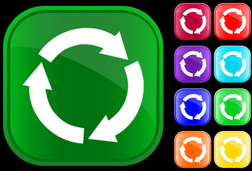 Recycling symbol on shiny square buttons