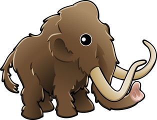 Cute woolly mammoth illustration