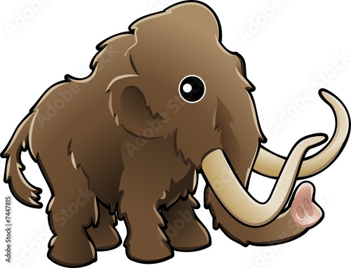 Cute woolly mammoth illustration