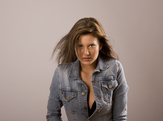 Brunette Jacket Open Hair Around Face