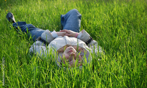 girl lie on grass