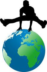 silhouette homme sautant sur la terre