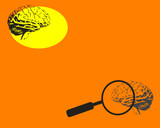 Brain and magnifying glass poster