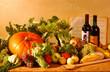 Quadro Kürbis mit Wein Obst und Gemüse