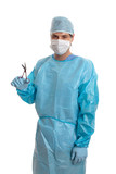 Surgeon in scrubs holding surgical instrument  poster