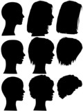 Hair Style Beauty Salon Woman Profile Silhouettes poster