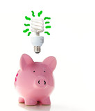 Piggy bank with a CF bulb above (smart energy) poster