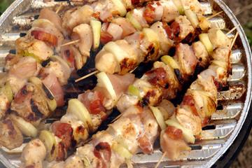 Shishkabobs on grill