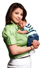 Mother holding & embracing infant child isolated