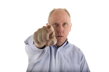 Man in Blue Shirt Pointing at Something