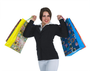 woman  on white background  shopping