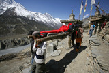 person being rescued in the himalayas, annapurna, nepal poster