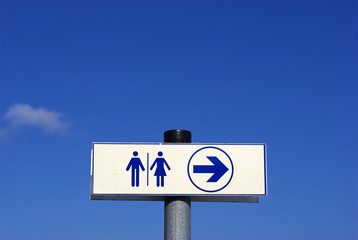 Toilets for men and women, Sign sky blue