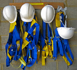 safety harness and helmets poster