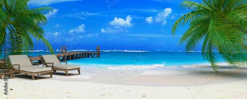 Fotobehang Caraïben caraibean beach ponton 06